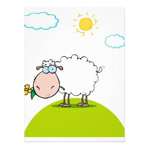 silly sheep on a hill with a flower personalized announcements