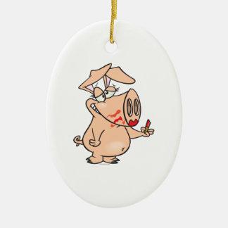 silly sloppy lipstick piggy pig cartoon ceramic ornament