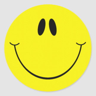 Silly Smiley Face Classic Round Sticker