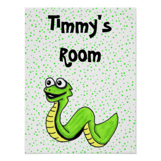 Silly Smiling Cartoon Snake Poster