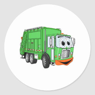 Silly Smiling Garbage Truck Cartoon Round Sticker