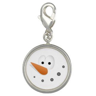 Silly Snowman Face Cartoon Photo Charms