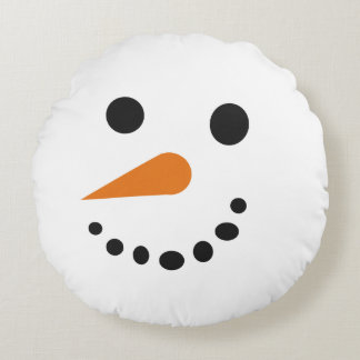 Silly Snowman Face Holiday Pillow