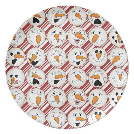 Silly Snowman Heads on Red Diagonal Stripes Plate