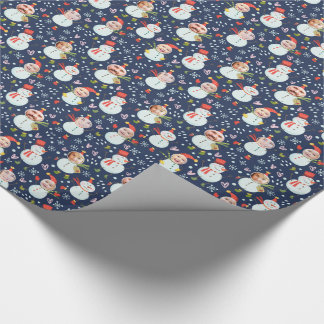 Silly Snowmen Faces Photo Holiday Wrapping Paper