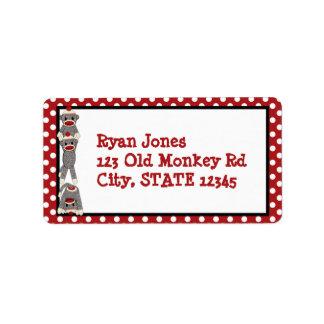 Silly SOCK MONKEY Birthday Address Label SMR