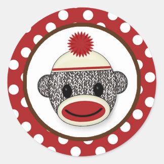 Silly SOCK MONKEY Birthday Round sticker SMR #3