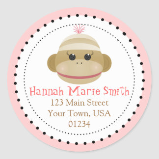 Silly Sock Monkey Girl Return Address Stickers