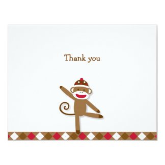 """Silly Sock Monkey Thank You Note Cards 4.25"""" X 5.5"""" Invitation Card"""