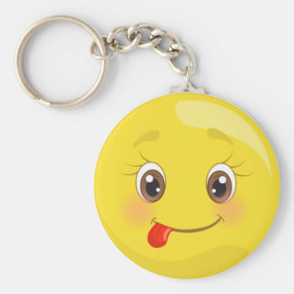 Silly Sticking Out Tongue Emoji Keychain