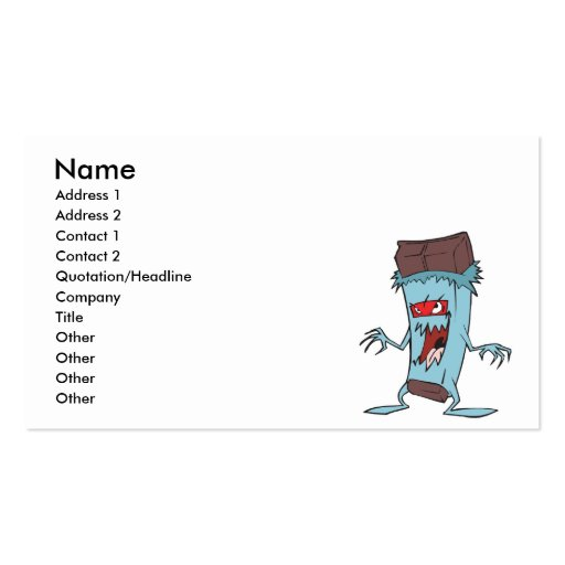 silly super villian evil chocolate candy bar business card template