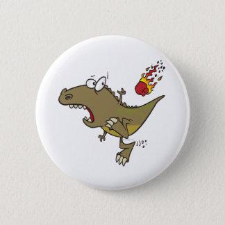silly t-rex dinosaur dodging meteor cartoon 2 inch round button