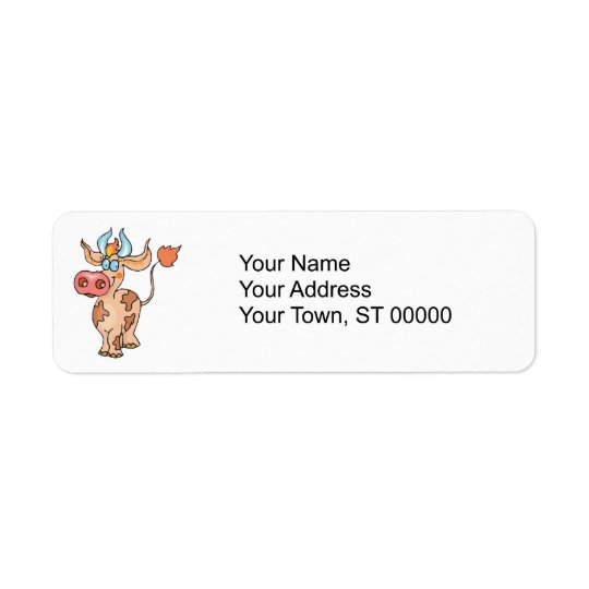 silly tan cow return address label