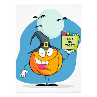 silly trick or treat halloween pumpkin character invitations