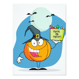 """silly trick or treat halloween pumpkin character 6.5"""" x 8.75"""" invitation card"""