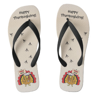 Silly Turkey for Thanksgiving Flip Flops