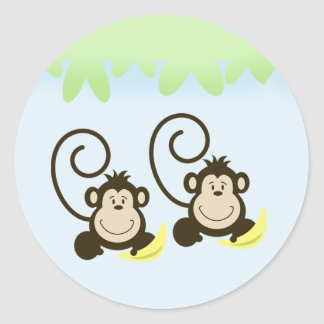 SILLY TWIN MONKEYS Envelope Seals - Blue