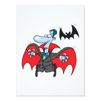 """silly vampire and bat cartoon 6.5"""" x 8.75"""" invitation card"""