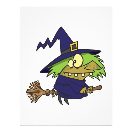 silly witchy witch toad on broomstick personalized flyer