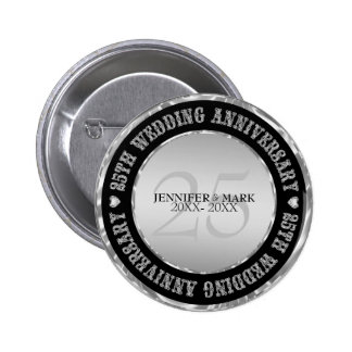 Silve Wedding Anniversary  Metallic Silver & Black 2 Inch Round Button
