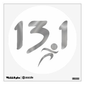 Silver 13.1 half-marathon wall decal