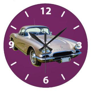 Silver 1962 Chevrolet Corvette Sports car Wall Clock