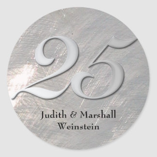 Silver 25th Anniversary Faux Metal Classic Round Sticker