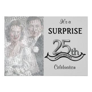 Silver 25th Anniversary Party invitations