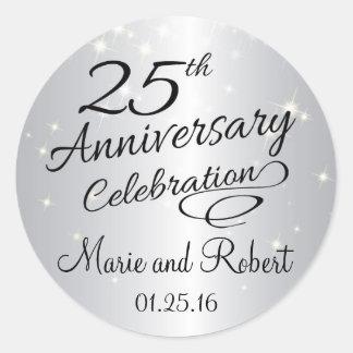 Silver 25th Anniversary Sparkly Wedding Round Sticker
