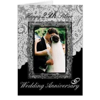 Silver 25th Wedding Anniversary Elegant Card