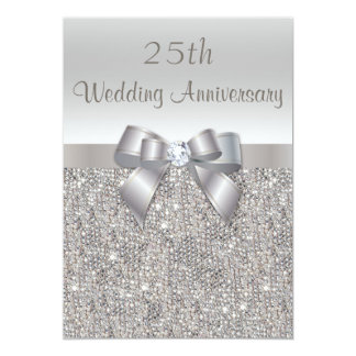 """Silver 25th Wedding Anniversary Sequins and Bow 5"""" X 7"""" Invitation Card"""