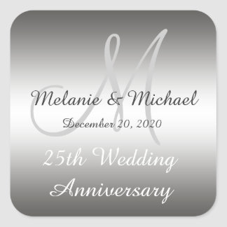 Silver 25th Wedding Anniversary Stickers