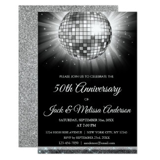 Silver 50th Anniversary Party Gold Disco Ball Card