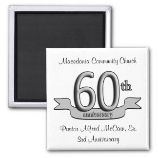 Silver 60th Anniversary Party Favors Magnet