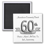 Silver 60th Anniversary Party Favours Magnet