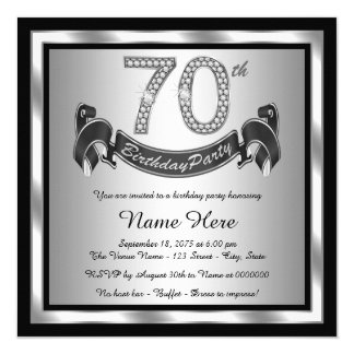 Silver 70th Birthday Party Card
