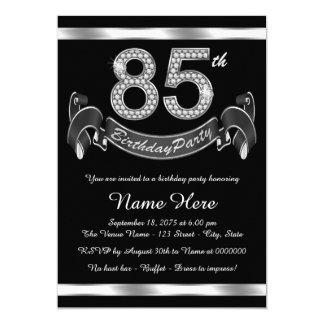 "Silver 85th Birthday Party 5"" X 7"" Invitation Card"