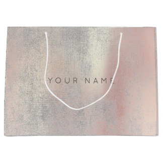 Silver Abstract Metallic Rose Gold Blush Beauty Large Gift Bag