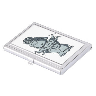 Silver accomplishing pulling out English story Business Card Holder