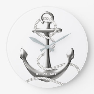 Silver anchor nautical wall clock Personalized