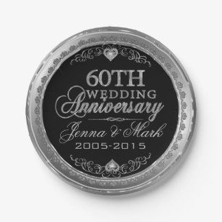 Silver And Black 60th Wedding Anniversary Paper Plate