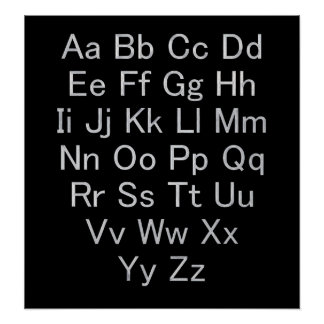 Silver and Black Alphabet Chart Poster