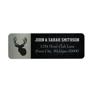 Silver and Black Antlered Deer Return Address Return Address Label
