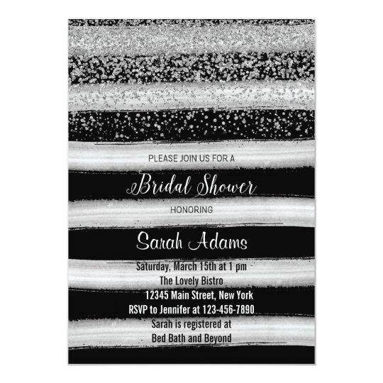 Silver and Black Bridal Shower Invitation