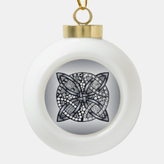 Silver and Black Celtic Knot Original Ornament