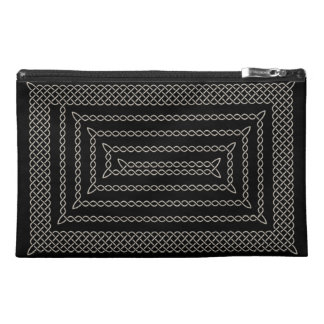 Silver And Black Celtic Rectangular Spiral Travel Accessory Bag