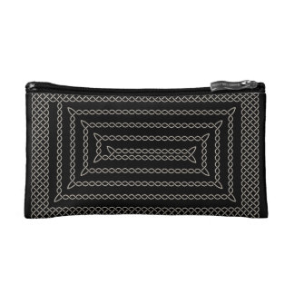 Silver And Black Celtic Rectangular Spiral Cosmetics Bags