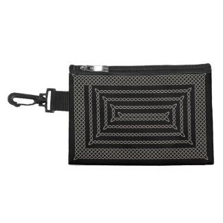 Silver And Black Celtic Rectangular Spiral Accessory Bag