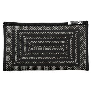 Silver And Black Celtic Rectangular Spiral Makeup Bags