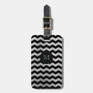 Silver and Black chevron Luggage Tag